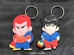 Wholesale japanese anime silicone dolls - Japanese anime figure PVC Basketball doll toy SLAM DUNK Hanamichi Sakuragi Rukawa Kaede PVC doll two-side keychain keyring