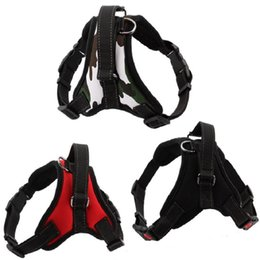 Wholesale Yarn Dogs - Wholesale- New hot Medium and large dog harness vest Reflective tape yarn Breathable and comfortable mesh pet dog leash big dog harness