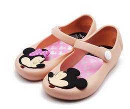 Wholesale Toddler Sequined Shoes - Kids Girl Mickey Minnie Sandals Toddler Baby Kids Beach Footwear Candy Smell Mini Melissa Shoes