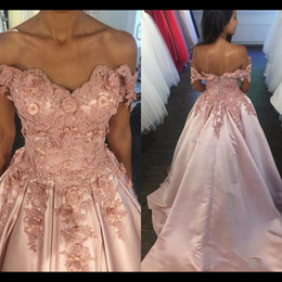 Wholesale Pictures Spring Flowers - Off Shoulder Blush Pink Prom Dress elegant Sweetheart Lace Appliques 3D flowers long evening party dress party gown robe de soiree