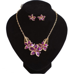Wholesale Oil Flower Earring - Free shipping promotion fashion all-match diamond alloy necklace set flower oil