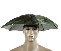 Wholesale Camouflage Outdoor Hats - Camouflage Foldable Headwear Sun Umbrella Fishing Hiking Beach Camping Headwear Cap Head Hats Outdoor Sport Umbrella Hat Cap