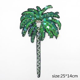 Wholesale Diy Coconut Tree - 1 Pc Of Sequin Beaded Tree Patches,Coconut Patch with Pearl,For Clothing Sewing on Patch Beading Applique for Jackets DIY Decoration Patches