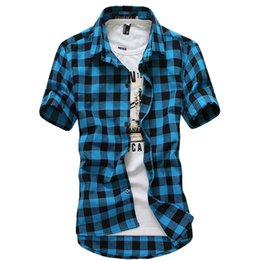 Wholesale Multicolor Mens Shirt - Wholesale- Multicolor Plaid Shirt Spring Men Camisas Blue Shirt Autumn Chemise Mens Topstitching Shirts Short Sleeve Casual Grid Shirt B004