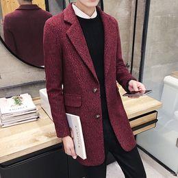 Wholesale British Matches - Wholesale- Autumn winter 2016 new fashion Korean Slim woolen coat men's Solid color British style all-match trend coat long windbreaker