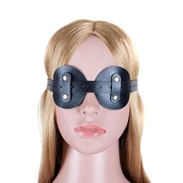Wholesale Male Bondage Sex Masks - Goggles Round Blindfold Mask Soft Leather Attractive Adult Product Bondage For Couples Sex Toy Restraint Blinder Male And Female