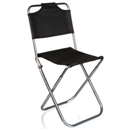 Wholesale Folding Travel Stools - Wholesale- Brand High Quality Black Aluminum Folding Grill Portable Stool Chair Fishing Chairs Bag Outdoor Travel Fishing Foldable Chair