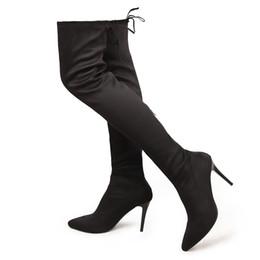 Wholesale High Boots Heels Thigh Zipper - Wholesale- Women's Sexy Stiletto Heels Thigh High Boots Fashion Back Zipper Over the Knee Boot Black Grey Winered