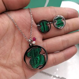Wholesale Lapis Malachite - Joyas pendiente collar Set Stainless Steel Cute natural black agate,lapis,Malachite stone pendant Jewelry Necklace and Earring Set for women