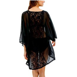 Wholesale Long Black See Through Blouse - 2017 Summer New Women Blouse Back Crochet Hollow Out Sexy See Through Kimono Cardigans Black Embroidery Blusas Beach Chiffon Top