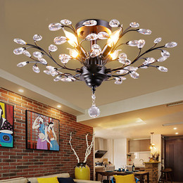 Wholesale Modern Led Crystal Ceiling Lights - Tree Branch Pendant Lamps K9 Crystal Chandeliers light modern chandelier E14 110V 220V LED Ceiling Light Chandelier Lighting Fixture