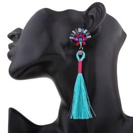 Wholesale Wooden Earrings Studs - Woman Indian Africa Big Stud Earring Rhinestone Wooden Earrings For Women Jewelry Semicircle Long Tassels Earings DE2146