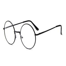 Wholesale Metal Frame Myopia Glasses - Wholesale- New Classic Vintage Glasses Frame Round Lens Flat Myopia Optical Mirror Simple Metal Women Men Glasses Frame F0007