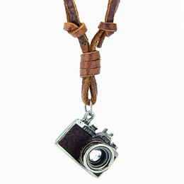 Wholesale Camera Necklace Leather - High Quality 100% Genuine Leather Necklace Punk Hop Rock Style Retro Jewelry Black &Brown Camera Pendant Necklace