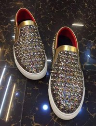 Wholesale Gold Stitching Wedding Dress - 2017 Multi-color stitching New Arrival Fashion Rhinestone Casual Shoe Colful Crystal Oxfords Mens Flat Dress Shoes Wedding Party