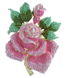 "spille in oro rosa spille Sconti modo dei perni spille per le donne bellissime 5.32"" Gold-Tone Rosa Fiore strass Crystal Rose Pin Spilla EE02994C12"