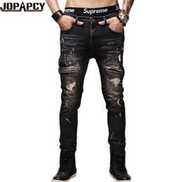 Wholesale Hot Cotton Capris - Wholesale-HOT Selling Top Designer Famous Jeans Men Upscale Cotton Men's Skinny Jeans European And American Style Denim Pants MYA0395