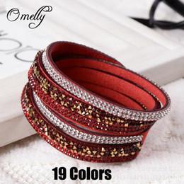 Wholesale Cheap Gift Wrapping - 19 Colors Crystal Rhinestone Bracelets Slake Bracelet Wristbands Leather Wrap Bracelet Hand Made Bands Leather Cheap Jewelry