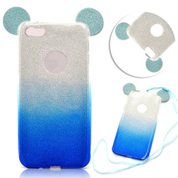 Wholesale Glitter Ear - 3D Minnie Mickey Mouse Ears silicone TPU Soft Glitter Gradient Case Gradual Change Color With Hang rope for iPhone 5S 6 6s Plus 7 7plus