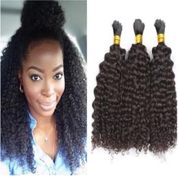 Wholesale afro kinky human braiding hair - 8A Unprocessed Brazilian Afro Kinky Curly Human Braiding Hair 3pcs lot No Weft Bulk Hair For African American Natural Black Hair