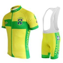 2019 benutzerdefinierte fahrradbekleidung Trikots 2018 Brasiliens, die kurzärmlige Kleidungssätze der Radsport-Jerseys einstellt, stellt Fahrrad- / Fahrradabnutzungskleidung maillot ropa ciclismo ein günstig benutzerdefinierte fahrradbekleidung