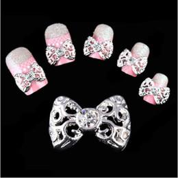 Wholesale 3d Clear Alloy Rhinestones Bow - Wholesale- New 2015 Lot 10Pcs 3D Clear Alloy Bow Tie Nail Art Glitter Slices Glod Sliver Diy Bowknot Nail Rhinestone NA514