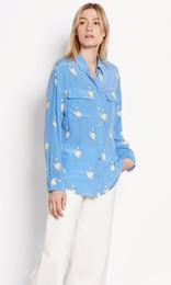 Wholesale Equipment Blouses - New EQ 100% real silk ladies' flamingo print pink blue long sleeve women blouse Equipment loose shirt autumn