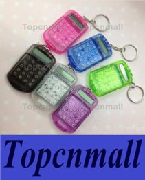 Wholesale Free Mini Calculator - Free shipping hot Fashion Cute Mini Pocket Calculator Keyring Key Chain Portable calculator Mixed Random Colors