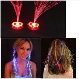 Wholesale Glow Hair Extensions - Luminous Light Up LED Hair Extension Flash Braid Party girl Hair Glow by fiber optic For Party Christmas Halloween Night Lights Decoration