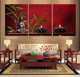 Wholesale Large Canvases Artwork For Walls - 3pieces Set Fashion Decor Artwork Wall Art Large Buddha Painting Decor Arts Print Painting On Canvas Wall Pictures For Living Room