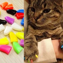 Gorras de garras de gato online-20 set / lote Soft Cat Grooming Finger Caps Pet Cat Cat nail capuchas control de protección del piso