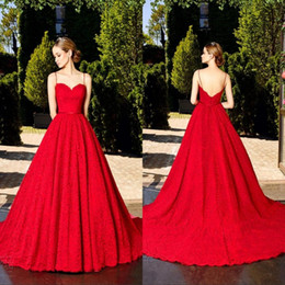 Wholesale ruby brown - 2017 Formal Ruby Red Full Lace Vintage A Line Evening Dresses Spaghtti Straps Long Prom Gowns WIth Brush Train