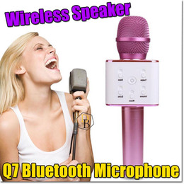 Wholesale Handheld Speaker Microphone - Portable Wireless Karaoke Microphone,Mini Handheld Cellphone Karaoke Player Built-in Bluetooth Speaker,2600 mAh Q7 Karaoke Home MIC Machine