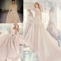 Wholesale Colorful Embroidered Wedding Dresses - Hayley Paige Fall 2017 Embroidered Organza Wedding Dresses Amethyst Long Sleeve Rococo Luxury Beaded Embroidery Cheap Bridal Gown