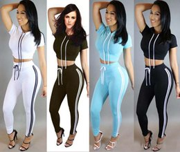 Wholesale Women Jogger Pants Shorts - 2017 new Summer Autumn Women Tracksuits Slim Two Piece Gym Clothing Jogger Outdoor Sportwear Hooded Crop Hoodie Skinny Pencil Pants