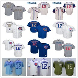 Wholesale Green Road - World Series Champions Patch #12 Kyle Schwarber Chicago Cubs Baseball Jerseys Home Away White Blue Gray Road 1929 1942 Throwback Cream