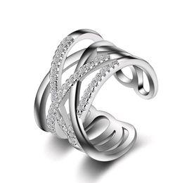 2020 silberner ring kleine steine Silberring Micro Pave Small Stones Multilayer Rose Gold Weiß Koreanisch Japanisch Schmuck Ringe für Frauen günstig silberner ring kleine steine