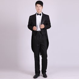 Wholesale Swallowtail Tuxedo - Wholesale- (Jacket+Pants) Men's Classic Black And White Swallowtail Christmas Magic Stage Performance Mens Tuxedo Suits