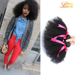 Wholesale Hair Extensions Afro Curls - Wholesale 7A Brazilian Human Hair Extension Brazilian Curl Virgin Afro Hair 3Pcs Afro Curly Human Hair Weave Machine Double Weft