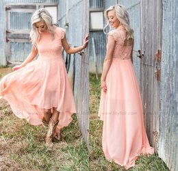 Wholesale Hi Low Style Bridesmaid Dresses - 2017 Cheap Peach High Low Bridesmaid Dresses Country Style Lace Chiffon Summer Beach Wedding Party Dress Bridesmaid Gowns
