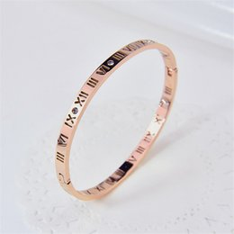 Wholesale 18k Gold Bracelet Thin - European and American simple Roman digital titanium bracelet 18K rose gold extremely thin hollow OL lovers hand accessories