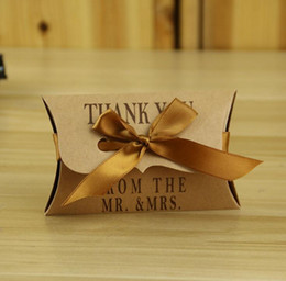 Wholesale Party Bag Gifts - Kraft Paper Pillow Square Candy Box Rustic Wedding Favors Candy Holder Bags Wedding Party Gift Boxes with ribbon 100pcs lot