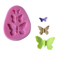 Wholesale Silicone Molds For Cake Decoration - Wholesale- Three Butterfly Shape fondant cake molds Fondant decoration soap chocolate mould for the kitchen baking cake tool