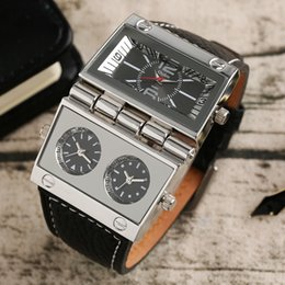 Wholesale Oulm Watches For Men - OULM Large Watch for Men Rectangle Radio Style Gig Dial Unique Quartz Wristwatch Male Clock Stylish Military relogio masculino