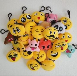 Wholesale Toy Car Keyrings Wholesale - 6 Soft QQ Expression Smiley Plush Toys Emoji Stuffed Doll Cartoon Keychain Phone Car Handbag Pendant Keyrings Gifts CCA7486 1200pcs