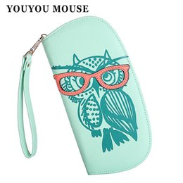 Wholesale Owl Phone - Wallets Purse Cute Owl Glasses Hit Color Printing Korean Rounded Zipper Long Women Wallet New Ladies' Clutch Card & Id Holders