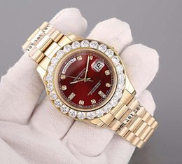 Wholesale Original Hours - Luxury Brand Golden Dial Day Date 18K Gold Men's Watch With Diamond Bezel Red Dial and Diamond Hour Markers Sapphire original clasp
