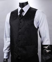 Wholesale Mans Tuxedo Vest Sets - Wholesale- VE08 Black Paisley Top Design Men 100%Silk Waistcoat Wedding Vest Pocket Square Cufflinks Cravat Set for Suit Tuxedo