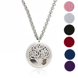 Wholesale Pendant Flower Life - 30mm Aromatherapy Locket Pendant Tree of Life Essential Oil Diffuser Stainless Steel Necklace 6 Felt Pads