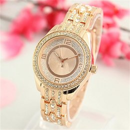 Wholesale Large Rhinestones - Sell well Classic Large letters Rhinestones Diamond inlay Clock dial Luxury Quartz Watch stainless steel women Watches wholesale